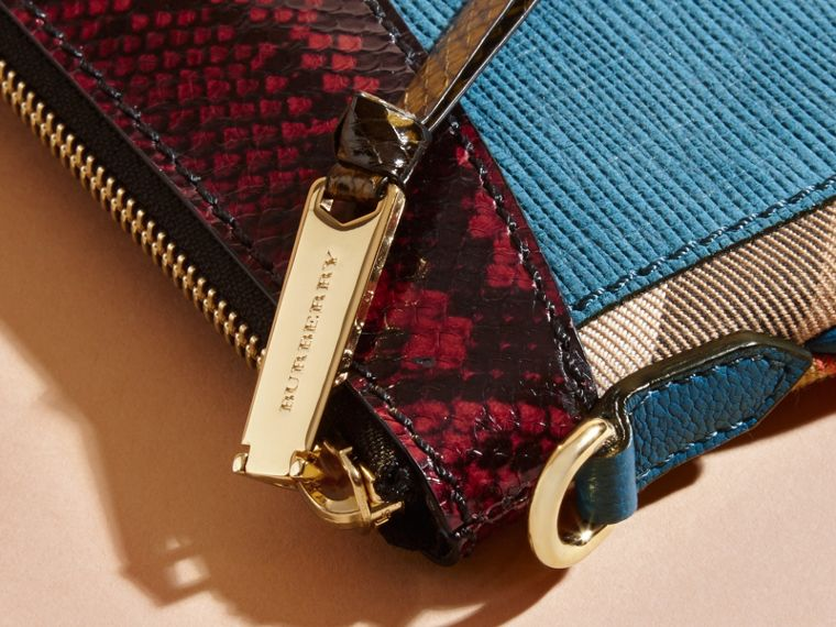 Leather, House Check and Snakeskin Clutch Bag in Peacock Blue - Women | Burberry - cell image 1