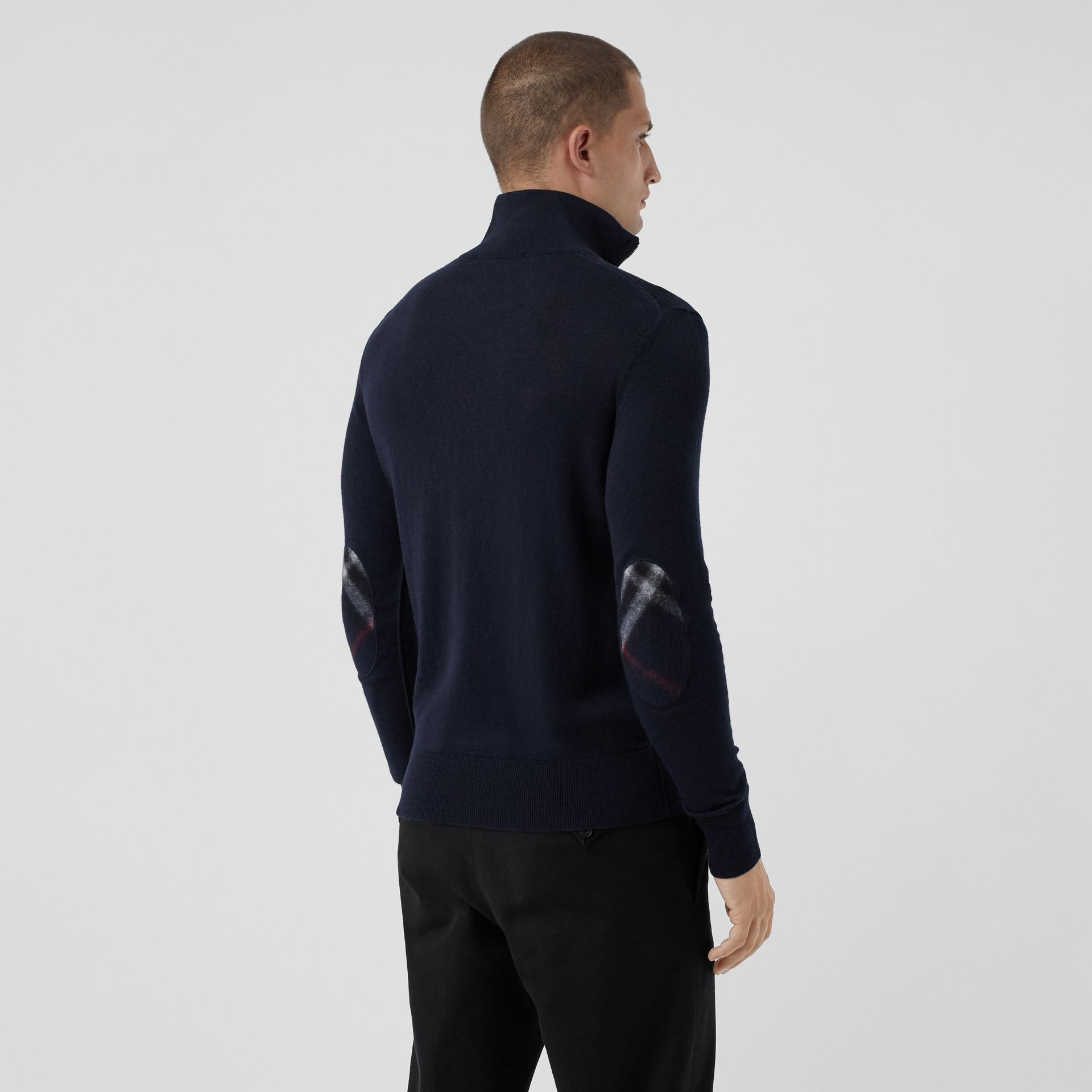Zip-neck Cashmere Cotton Sweater in Navy - Men | Burberry Singapore - gallery image 2