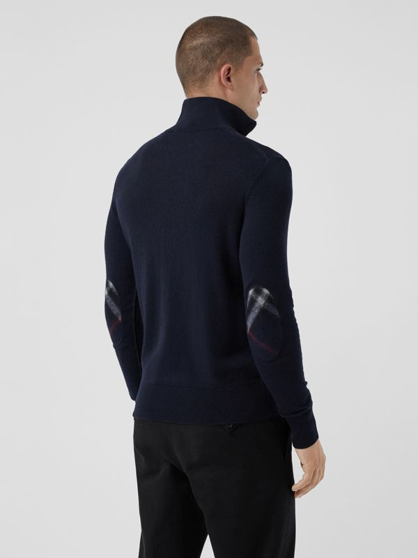 Zip-neck Cashmere Cotton Sweater in Navy - Men | Burberry - cell image 2