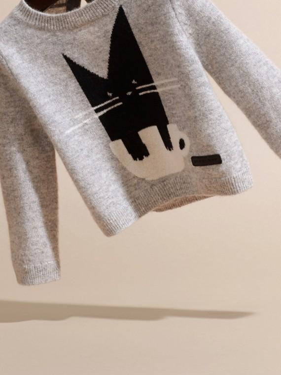 Grigio chiaro mélange Pullover in cashmere con gatto a intarsio - cell image 2