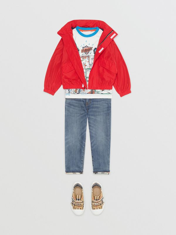 Packaway Hood Shape-memory Taffeta Jacket in Red - Children | Burberry - cell image 2