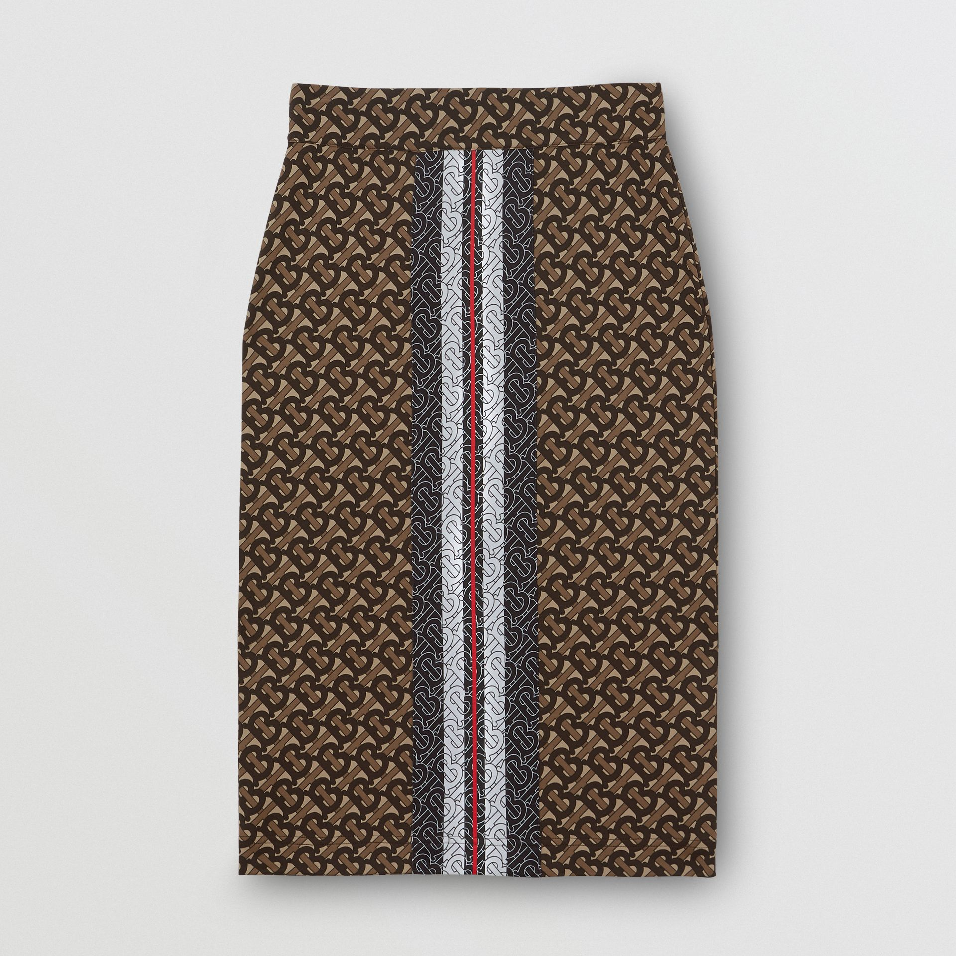 Monogram Stripe Print Stretch Jersey Pencil Skirt in Bridle Brown - Women | Burberry - gallery image 3