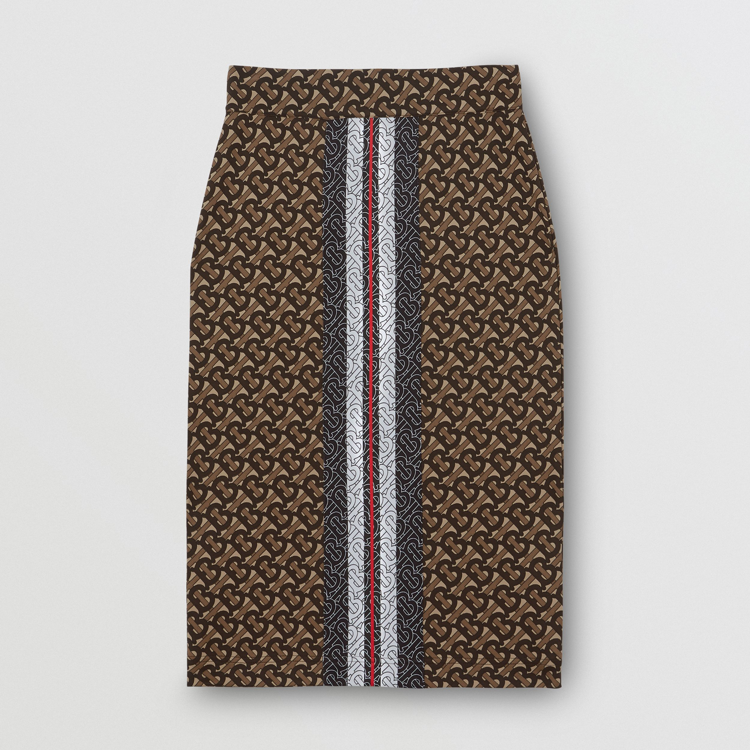 Monogram Stripe Print Stretch Jersey Pencil Skirt in Bridle Brown - Women | Burberry Singapore - 4