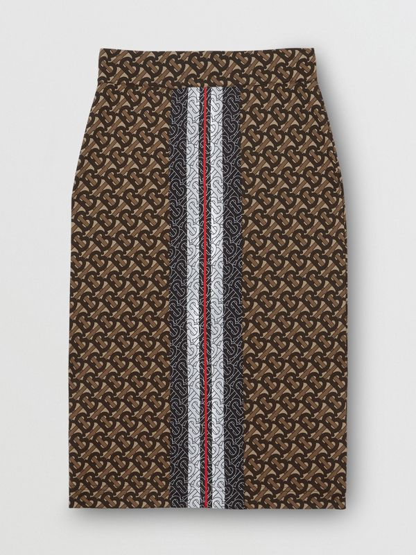 Monogram Stripe Print Stretch Jersey Pencil Skirt in Bridle Brown - Women | Burberry - cell image 3