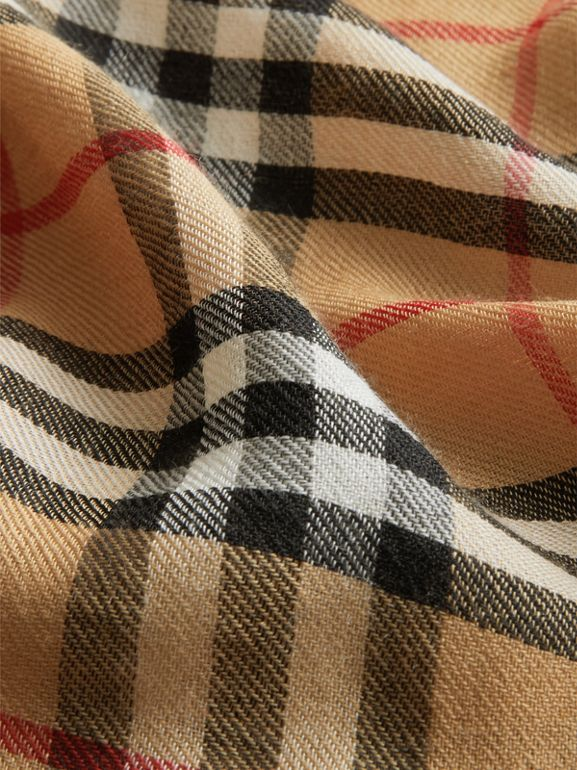 Vintage Check Lightweight Cashmere Scarf in Antique Yellow | Burberry - cell image 1