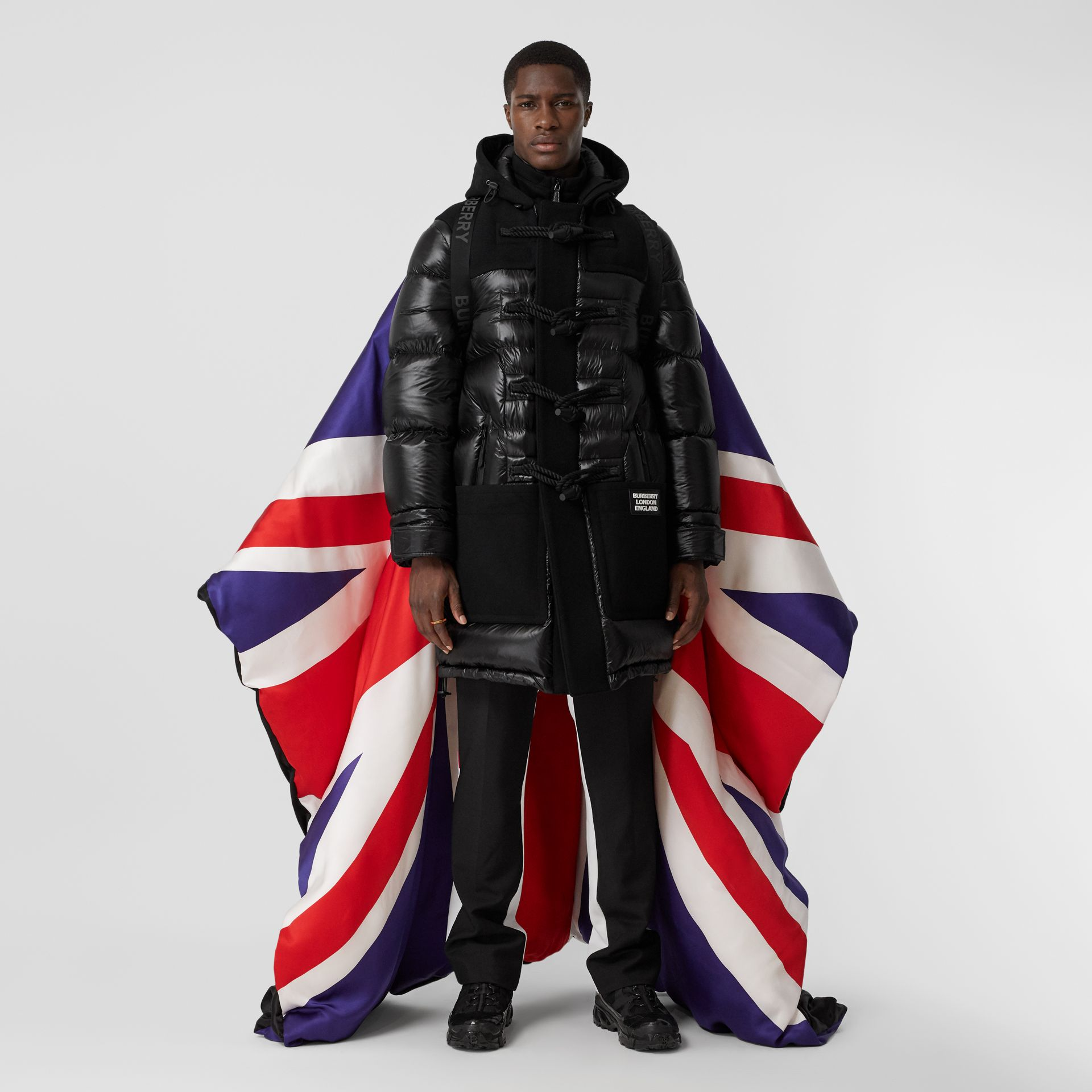 Union Jack and Logo Print Oversized Puffer Cape in Multicolour | Burberry United States - gallery image 0