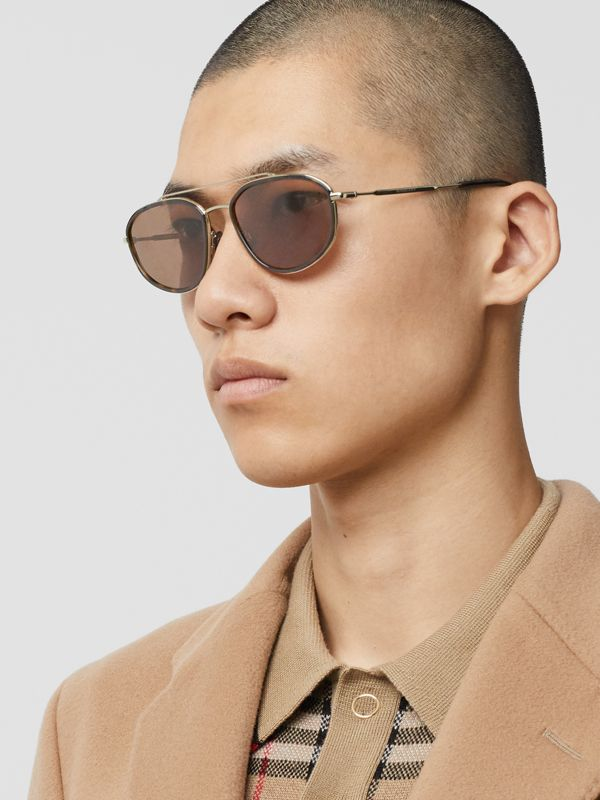 Gold-plated Geometric Navigator Sunglasses in Tortoise Shell - Men | Burberry - cell image 2