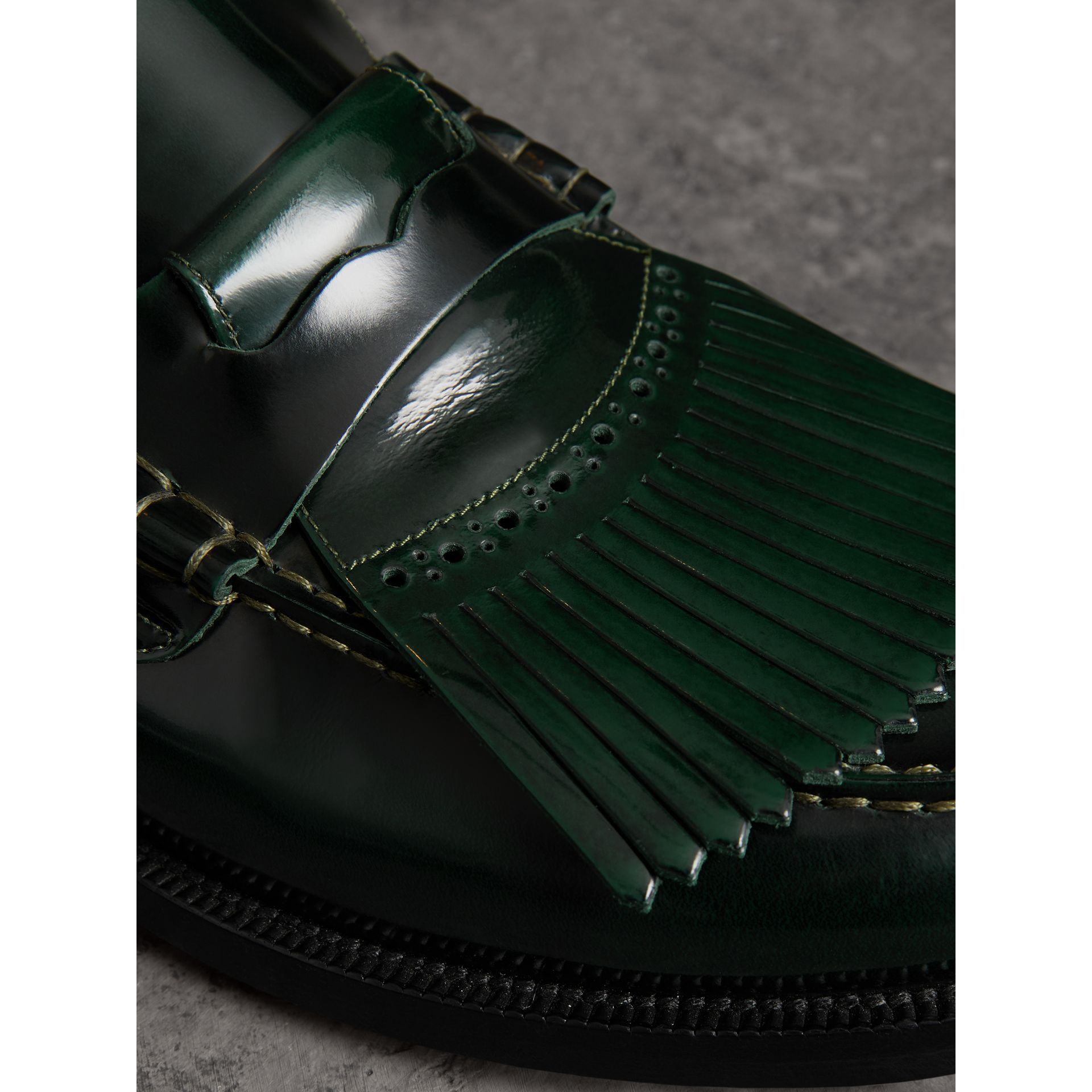 Kiltie Fringe Leather Loafers in Bottle Green - Men | Burberry - gallery image 1