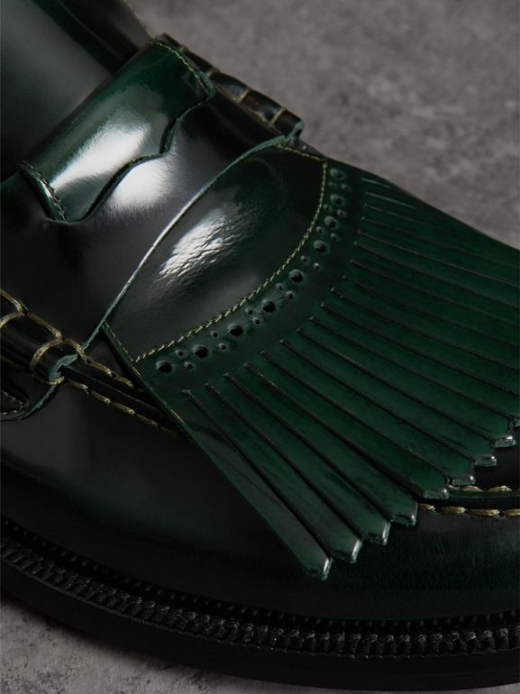 Kiltie Fringe Leather Loafers in Bottle Green - Men | Burberry - cell image 1