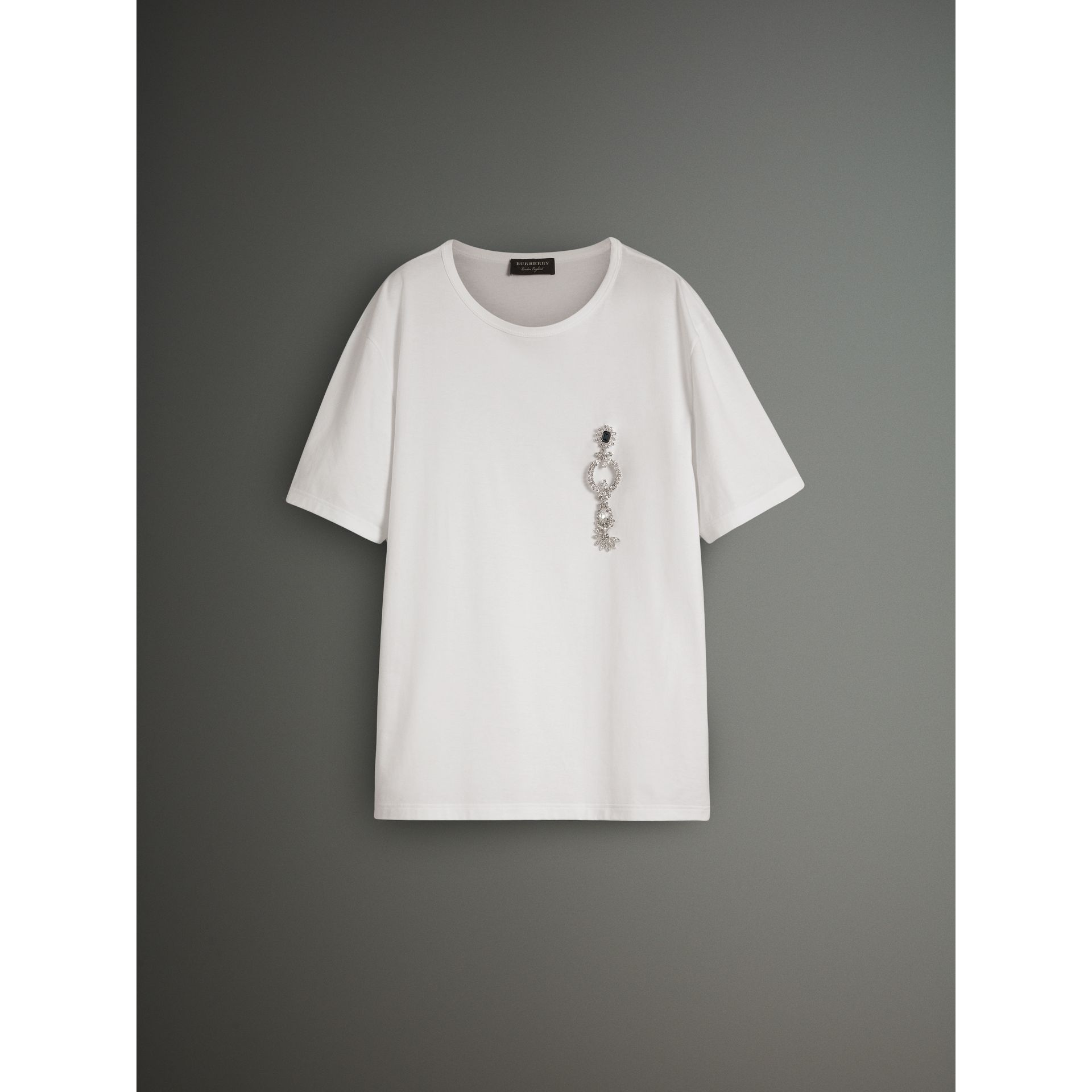 Boxy Fit T-shirt with Crystal Brooch in Optic White - Men | Burberry United Kingdom - gallery image 3