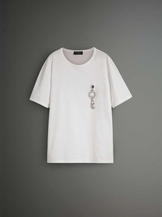 Boxy Fit T-shirt with Crystal Brooch in Optic White - Men | Burberry - cell image 3