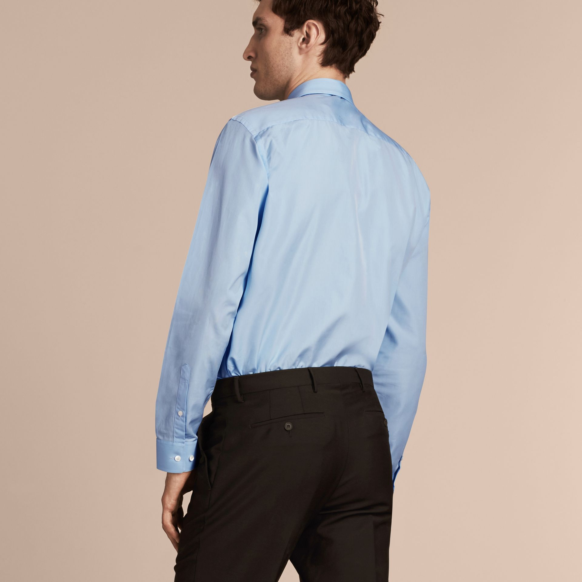 Modern Fit Cotton Poplin Shirt in City Blue - Men | Burberry - gallery image 3