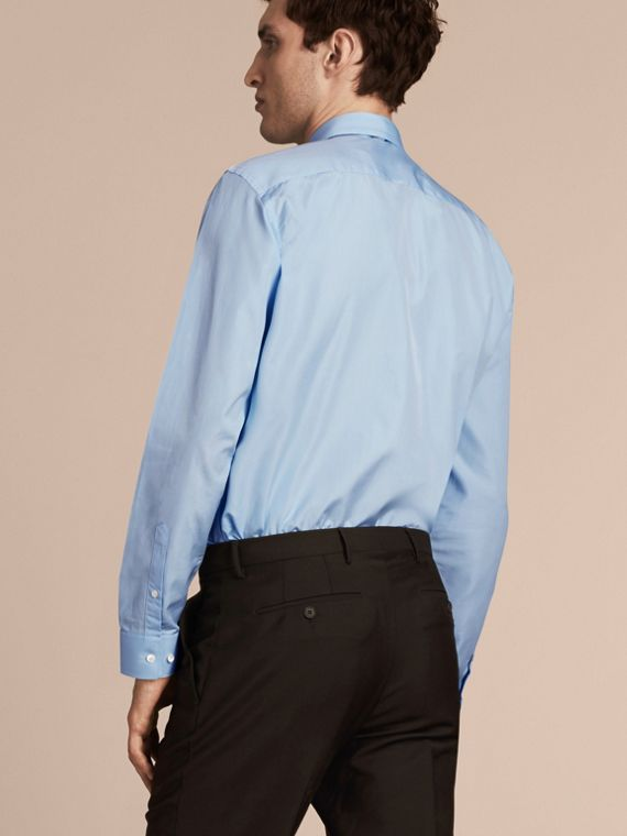Modern Fit Cotton Poplin Shirt in City Blue - Men | Burberry - cell image 2