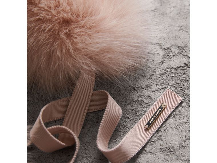 Fox Fur Collar with Check Cashmere Lining in Ash Rose - Women | Burberry United Kingdom - cell image 1