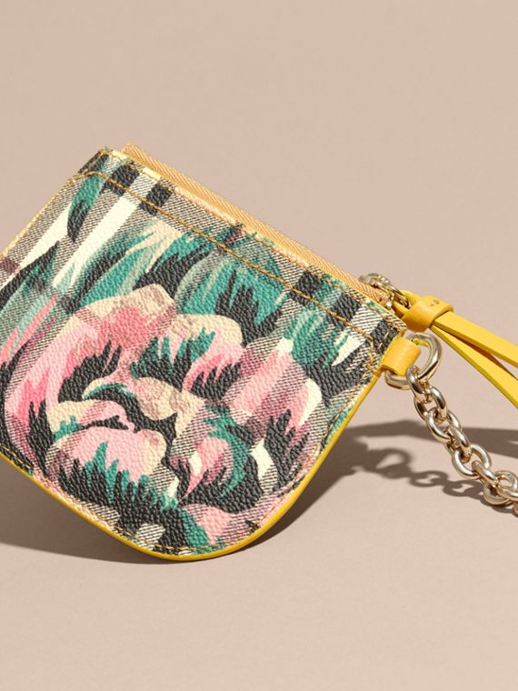 Larch yellow Peony Rose Print Haymarket Check Coin Case - cell image 3