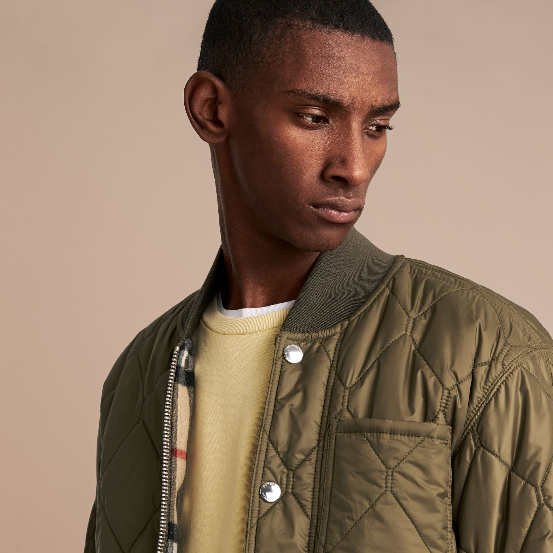 Quilted Bomber Jacket in Khaki - Men | Burberry - gallery image 5