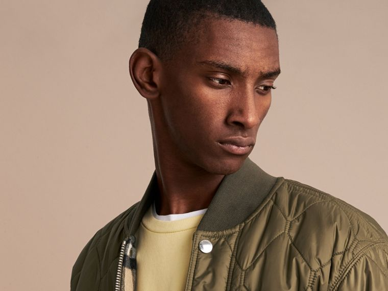 Quilted Bomber Jacket in Khaki - Men | Burberry - cell image 4