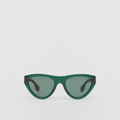 Sonnenbrille mit Triangel Gläsern und vergoldetem Gestell (Weiss) Damen   Burberry