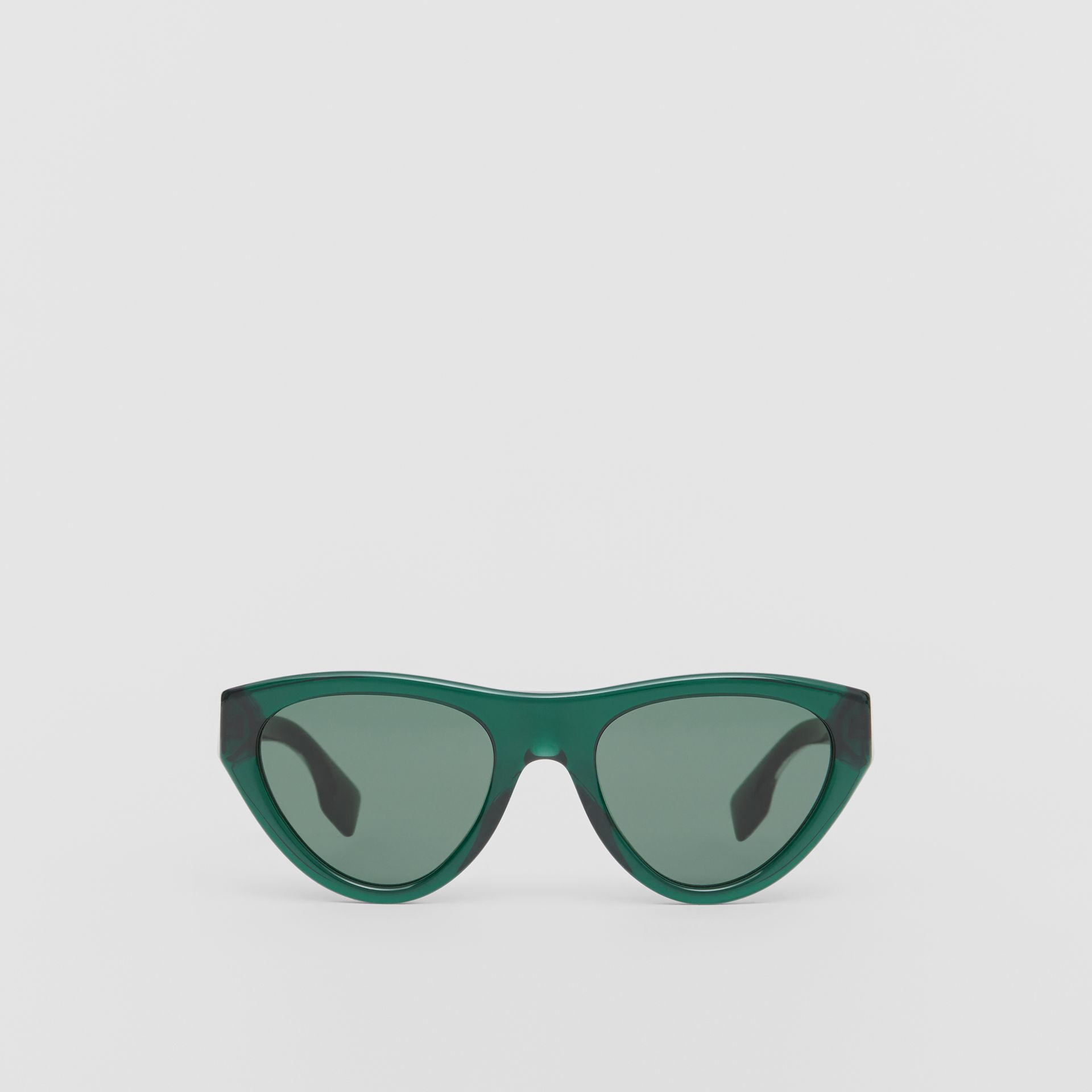 Triangular Frame Sunglasses in Green - Women | Burberry - gallery image 0