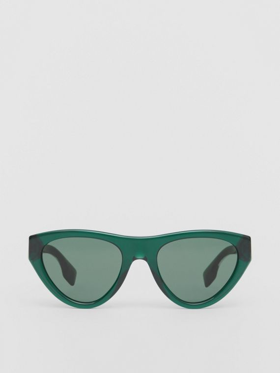 Triangular Frame Sunglasses in Green