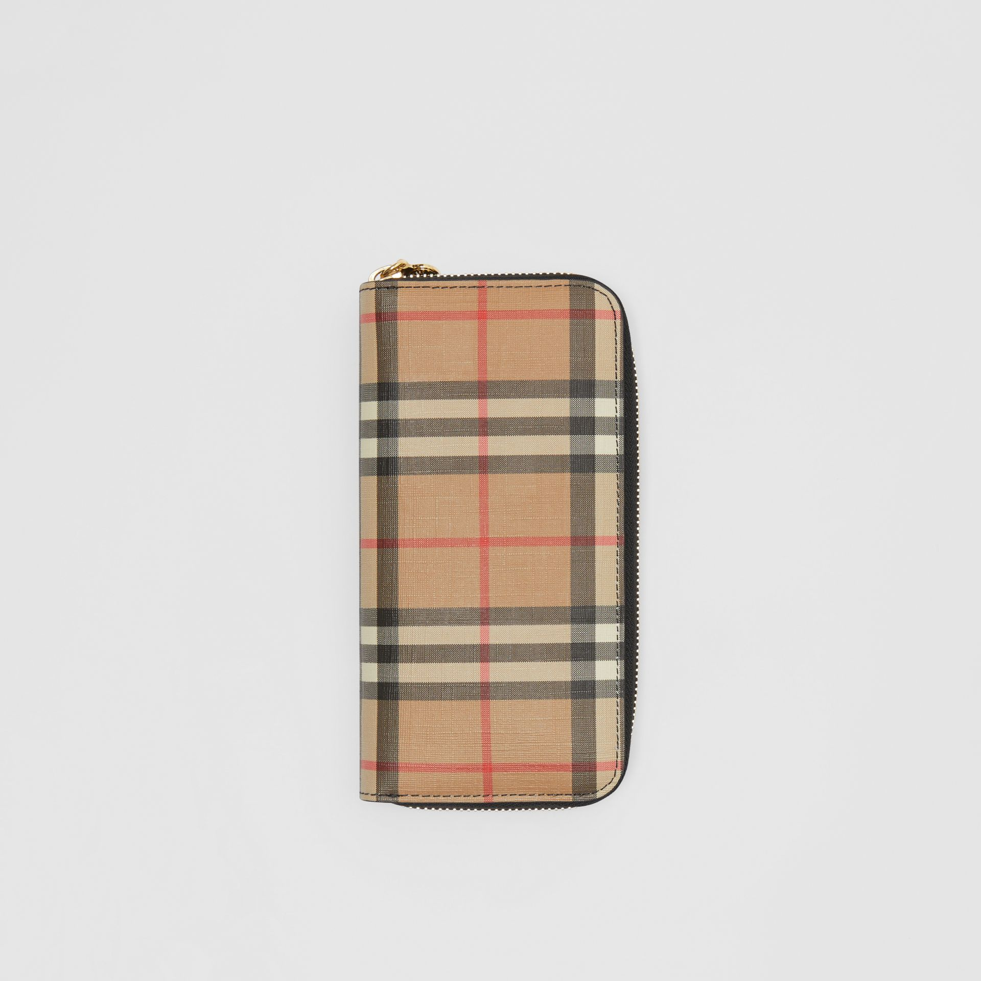 Vintage Check and Leather Ziparound Wallet in Black - Women | Burberry Australia - gallery image 0