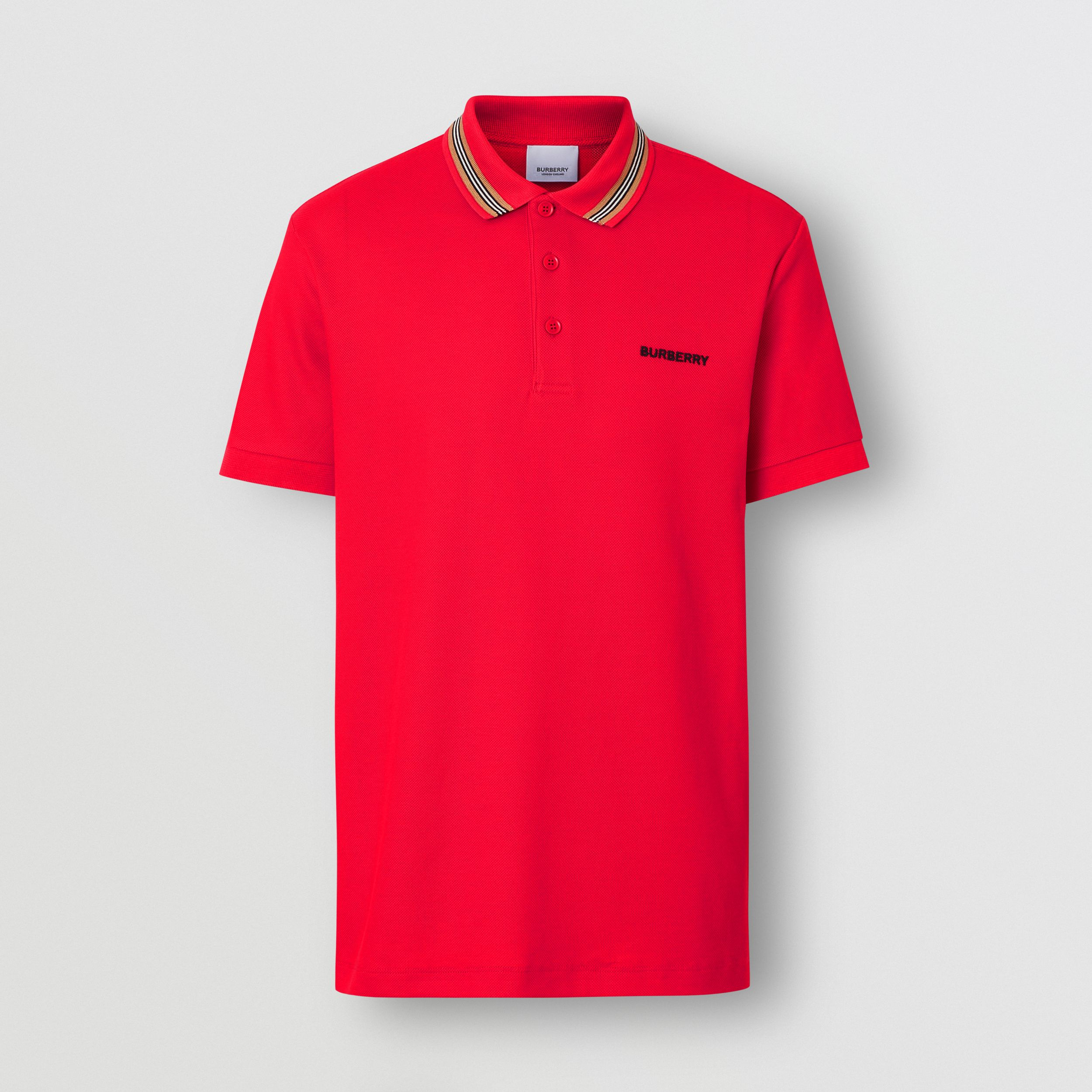 Icon Stripe Detail Cotton Piqué Polo Shirt in Bright Red - Men | Burberry - 4