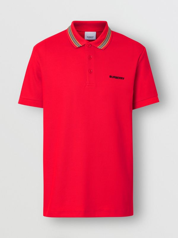 Icon Stripe Detail Cotton Piqué Polo Shirt in Bright Red - Men | Burberry - cell image 3