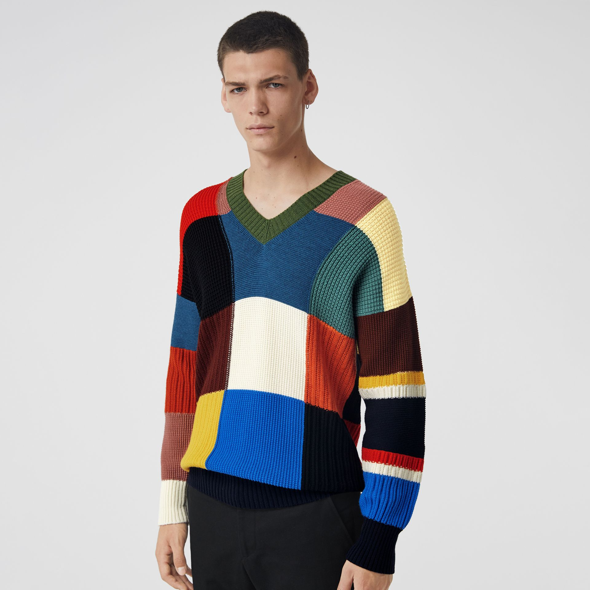 Patchwork Wool V-neck Sweater in Navy - Men | Burberry Canada - gallery image 0