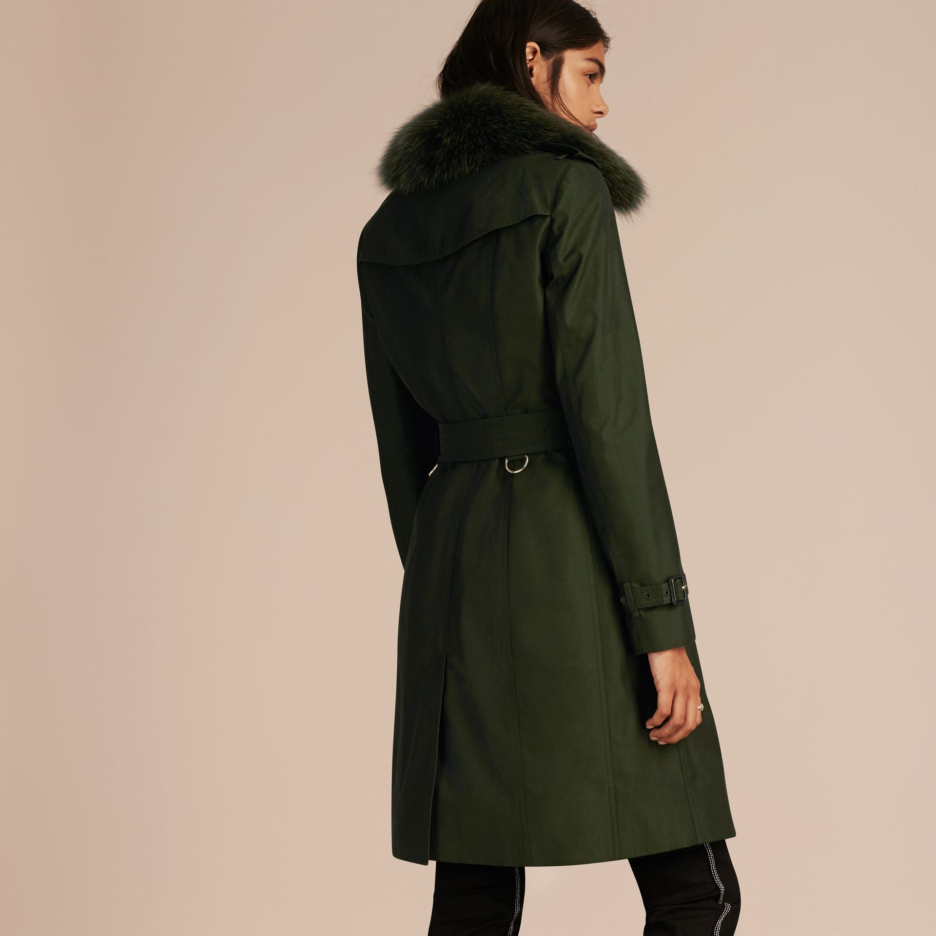 Dark cedar green Cotton Gabardine Trench Coat with Detachable Fur Trim Dark Cedar Green - gallery image 3