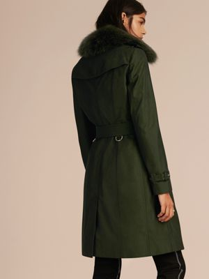 DARK CEDAR GREEN Cotton Gabardine Trench Coat with Detachable Fur Trim 产品图片21