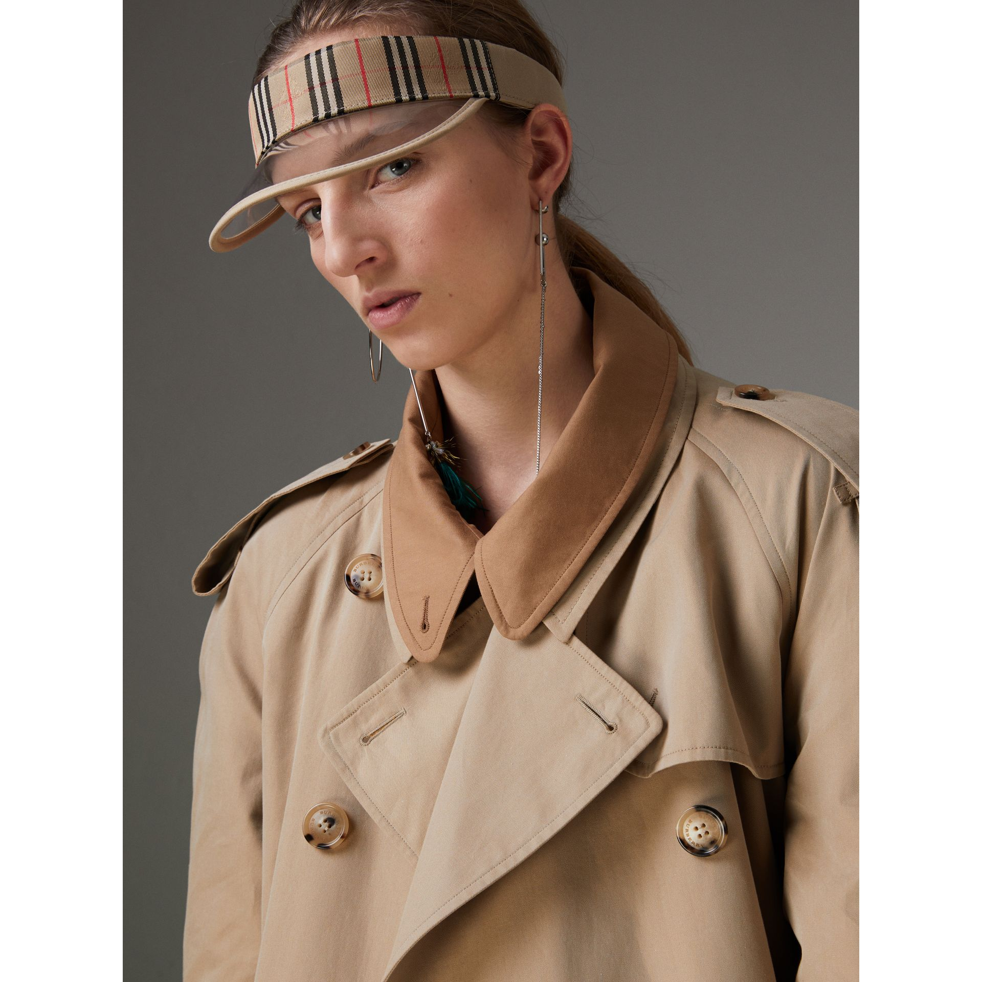 Cotton Gabardine Reconstructed Car Coat in Honey - Women | Burberry United States - gallery image 5