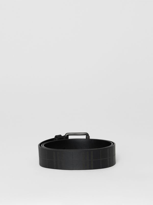 Perforated Check Leather Belt in Black - Men | Burberry - cell image 3