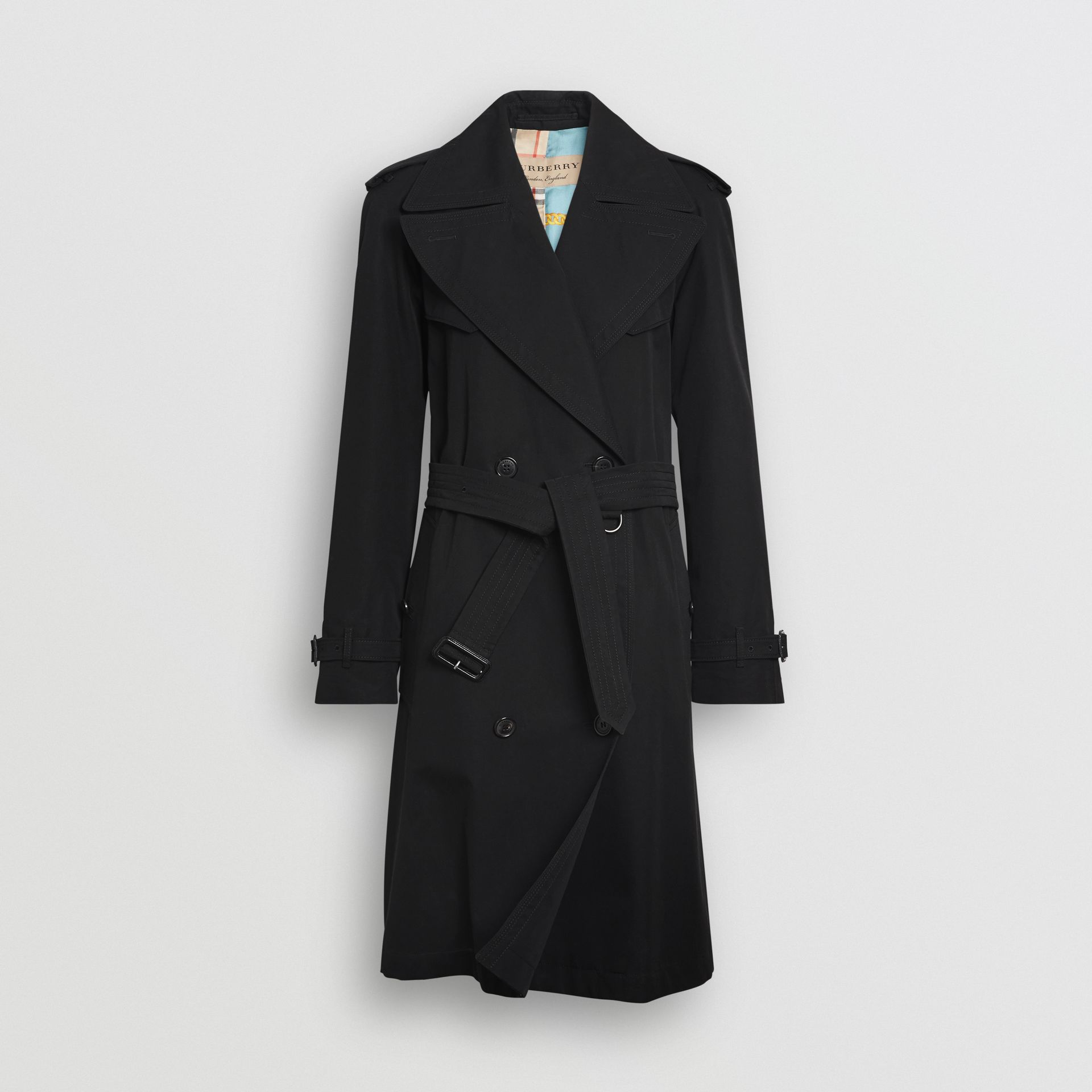 Oversized Lapel Cotton Gabardine Trench Coat in Black - Women | Burberry - gallery image 3
