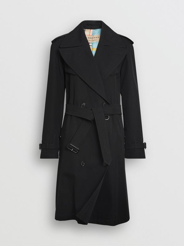 Oversized Lapel Cotton Gabardine Trench Coat in Black - Women | Burberry - cell image 3