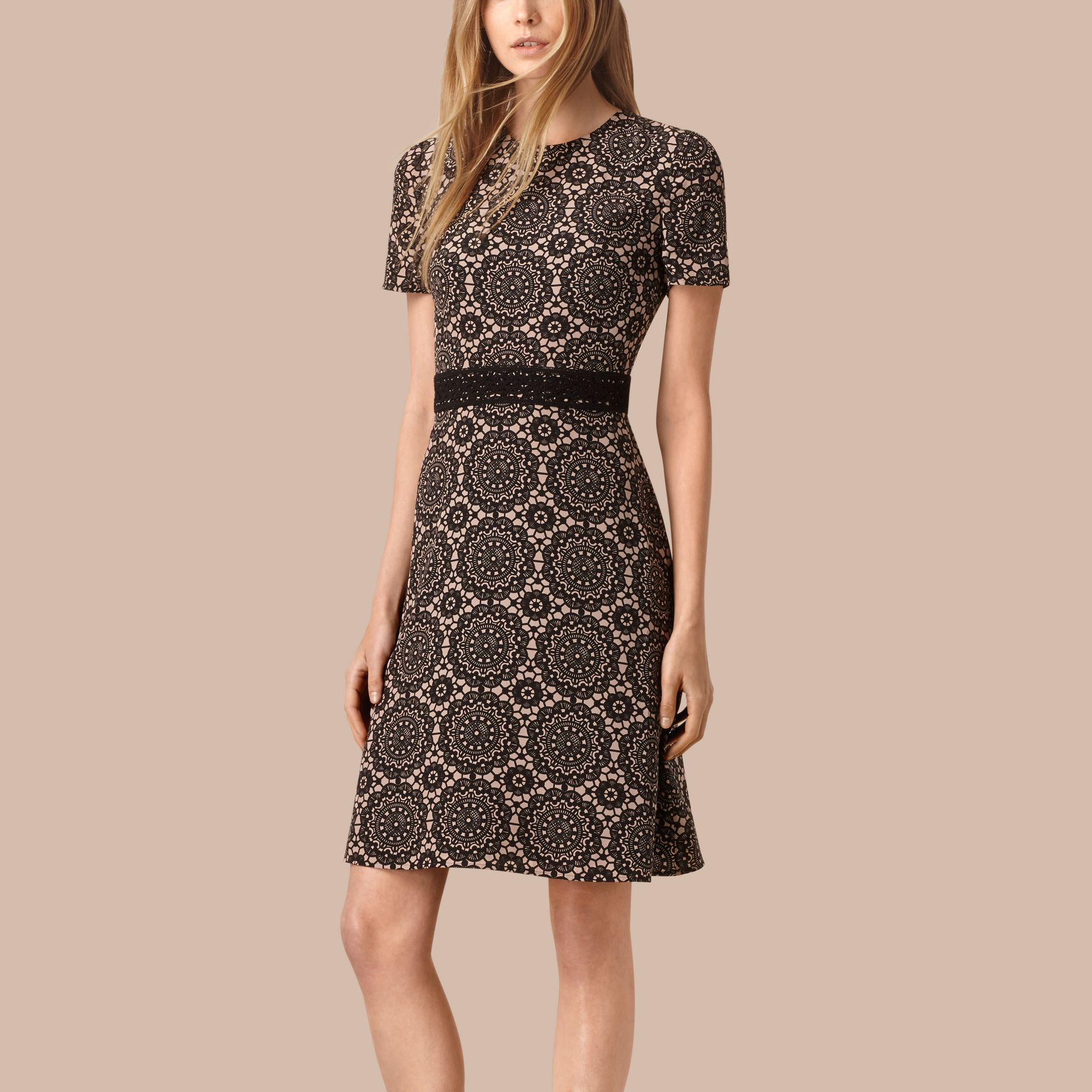 Nude/black Lace Print Silk Shift Dress - gallery image 1