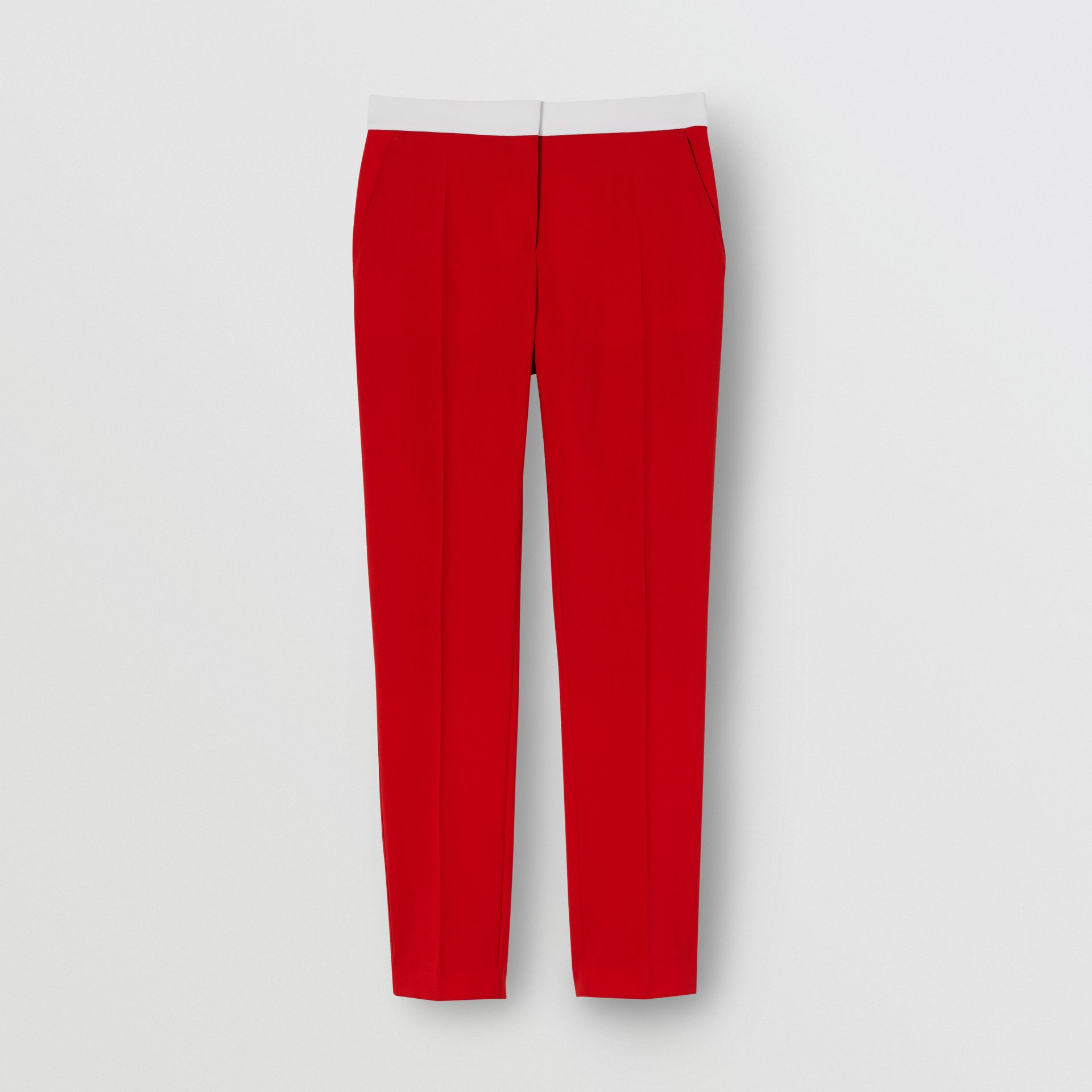 Two-tone Wool Tailored Trousers in Bright Red - Women | Burberry - gallery image 3