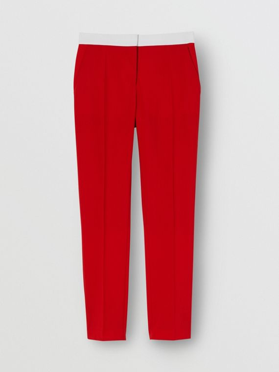 Two-tone Wool Tailored Trousers in Bright Red