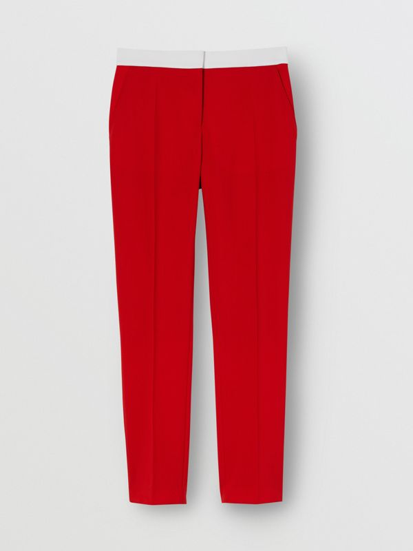 Two-tone Wool Tailored Trousers in Bright Red - Women | Burberry - cell image 3