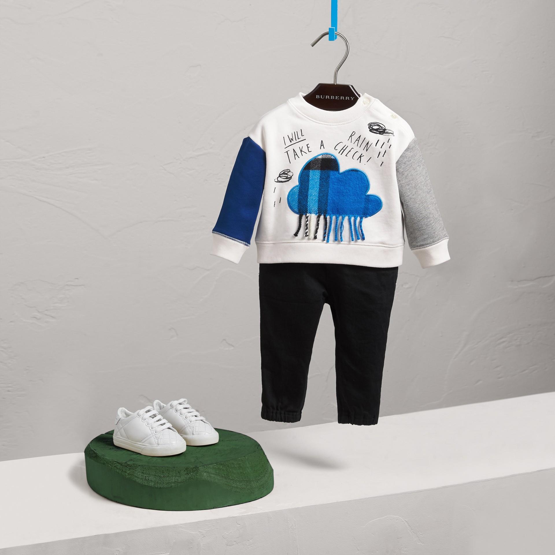 Weather Motif Cotton Sweatshirt in Bright Cornflower Bl | Burberry Canada - gallery image 0