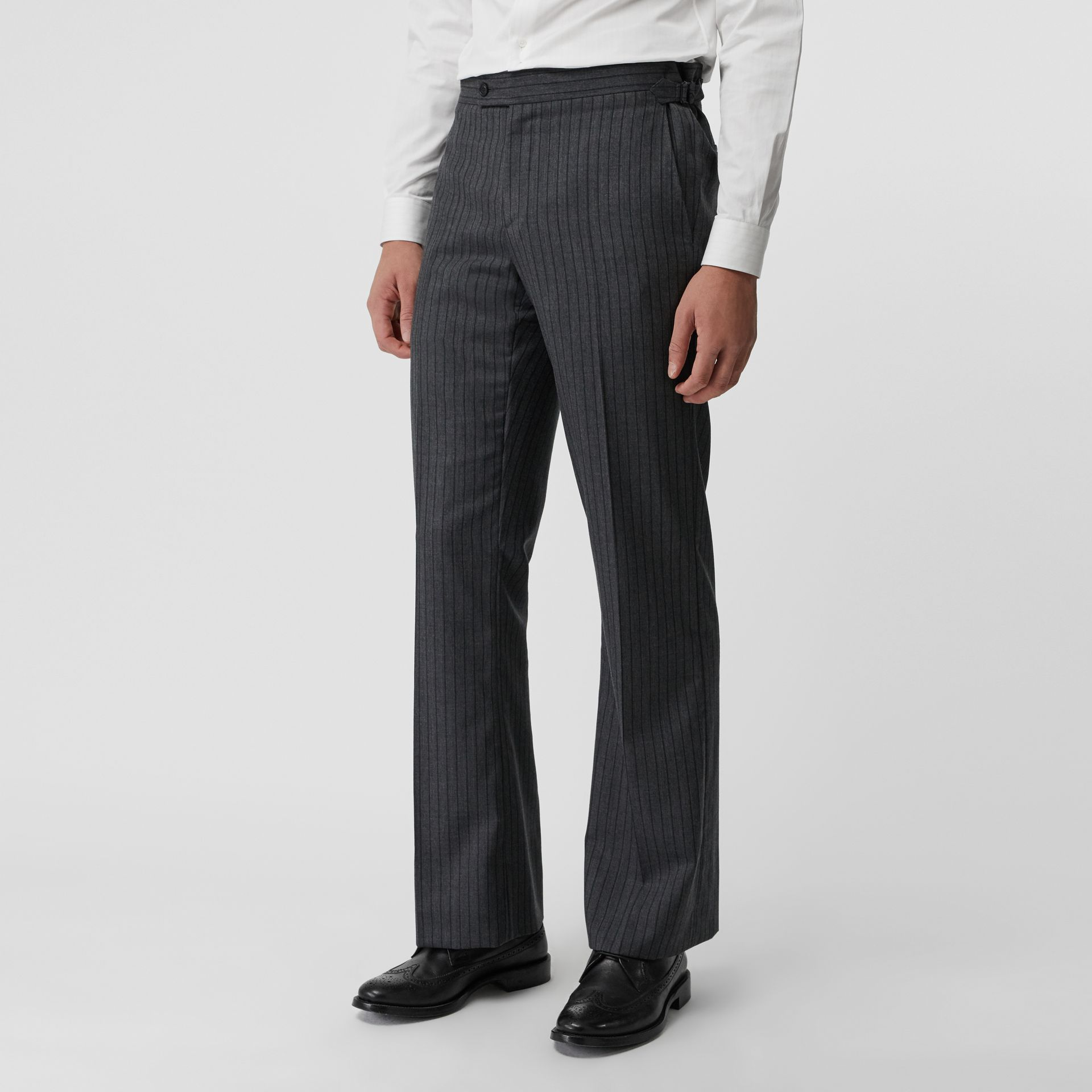 Classic Fit Pinstriped Wool Tailored Trousers in Mid Grey Melange - Men | Burberry Australia - gallery image 4