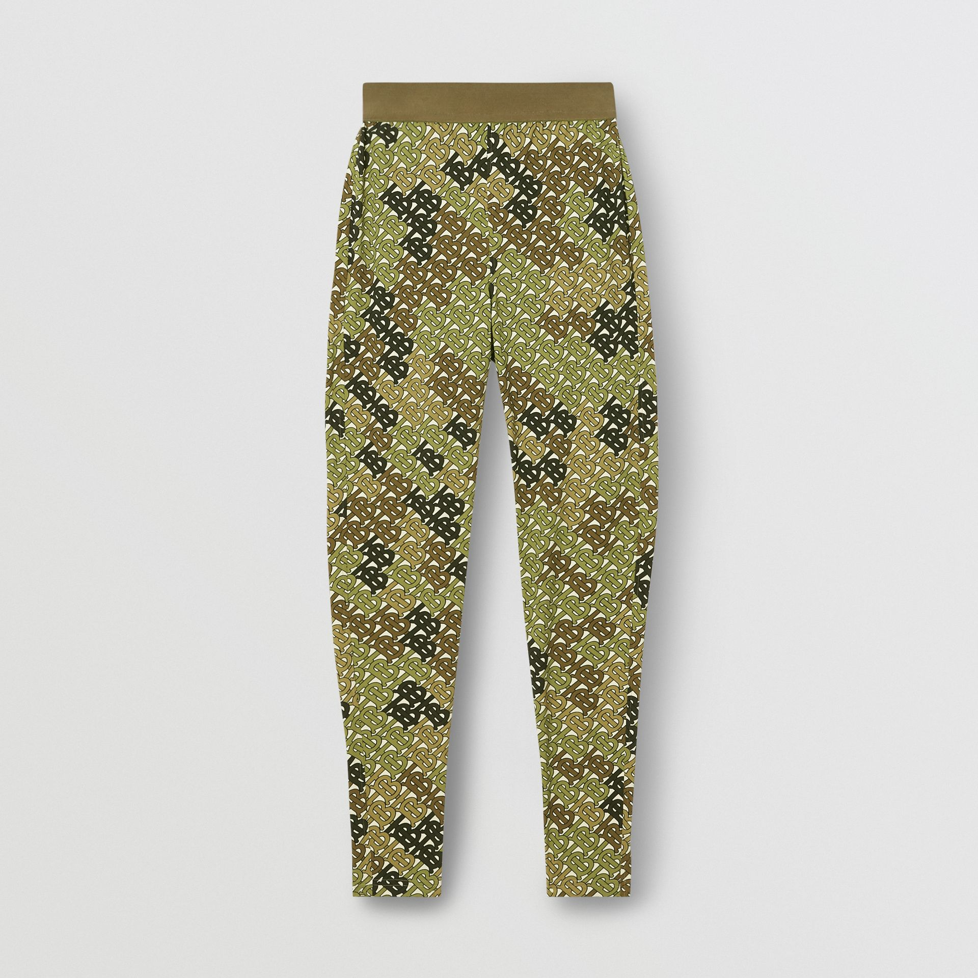 Monogram Print Stretch Jersey Leggings in Khaki Green - Women | Burberry - gallery image 3