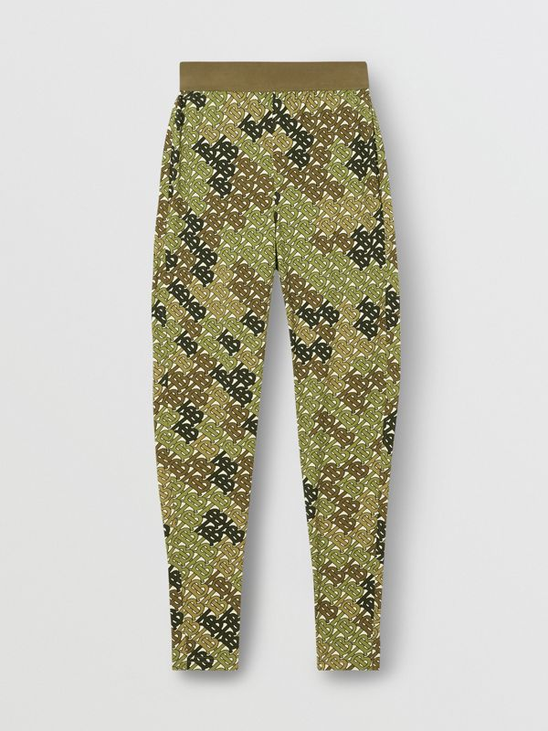 Monogram Print Stretch Jersey Leggings in Khaki Green - Women | Burberry - cell image 3