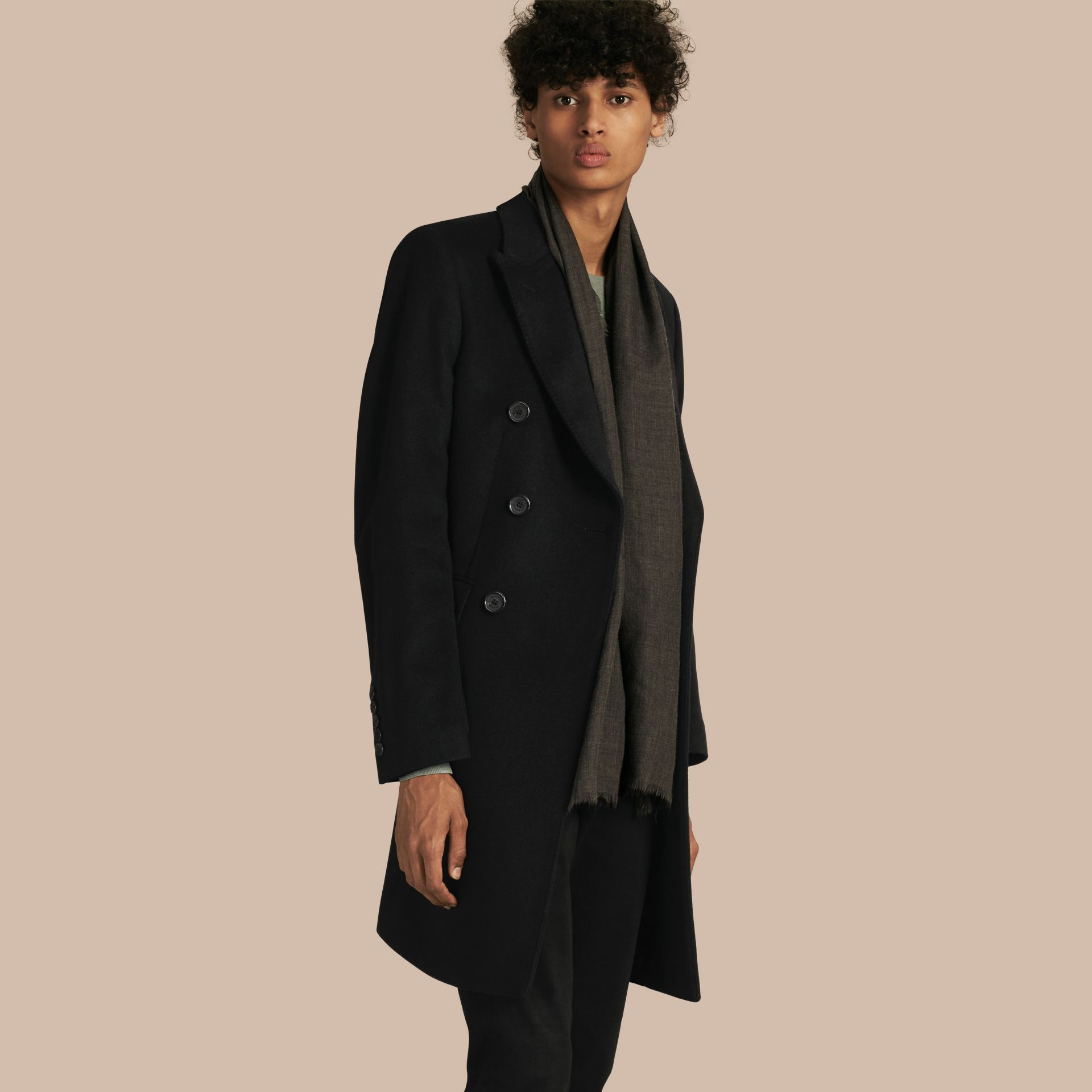 Black Double-breasted Wool Cashmere Tailored Coat - gallery image 1