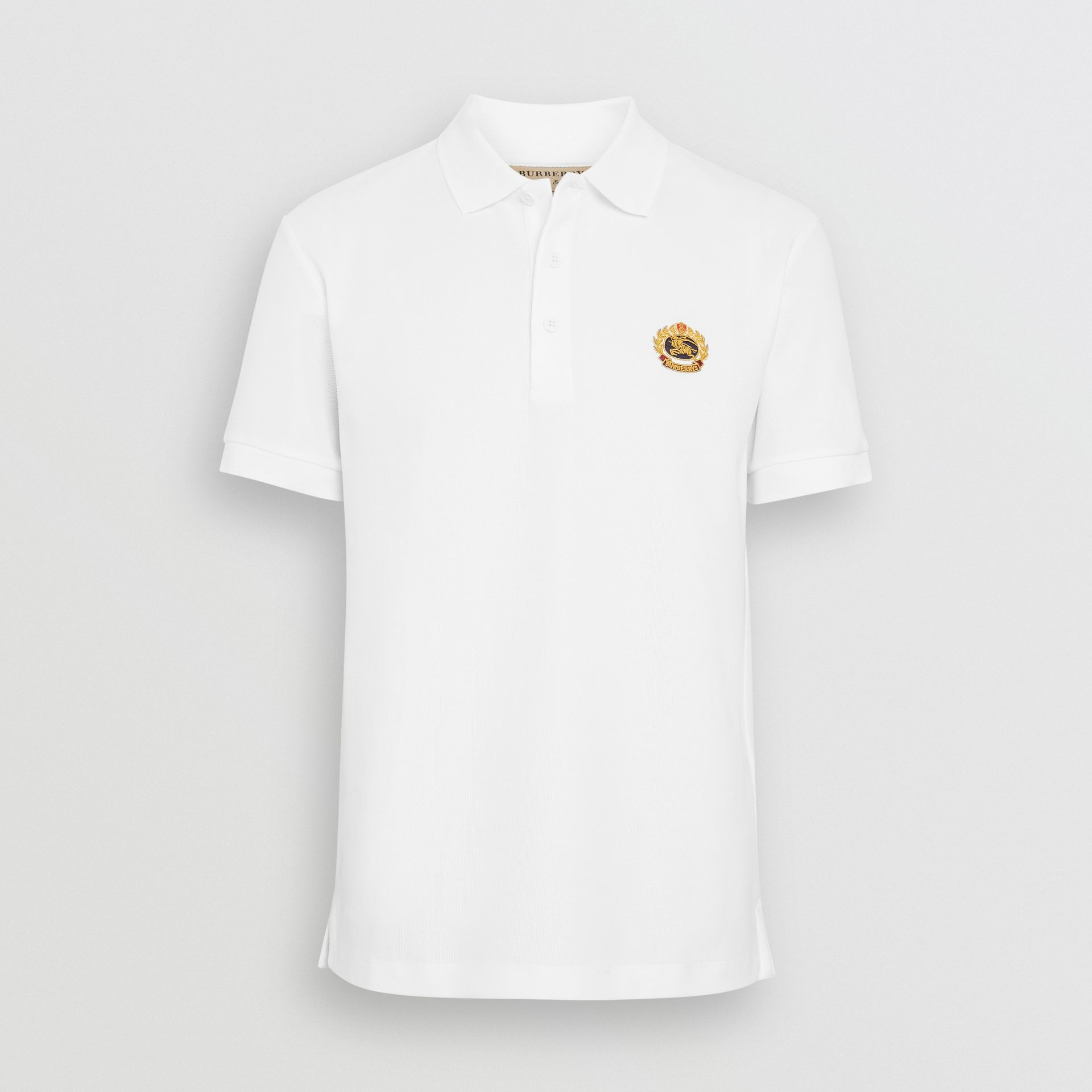 Archive Logo Cotton Piqué Polo Shirt in White - Men | Burberry United Kingdom - gallery image 3