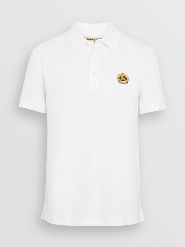 Archive Logo Cotton Piqué Polo Shirt in White - Men | Burberry United Kingdom - cell image 3