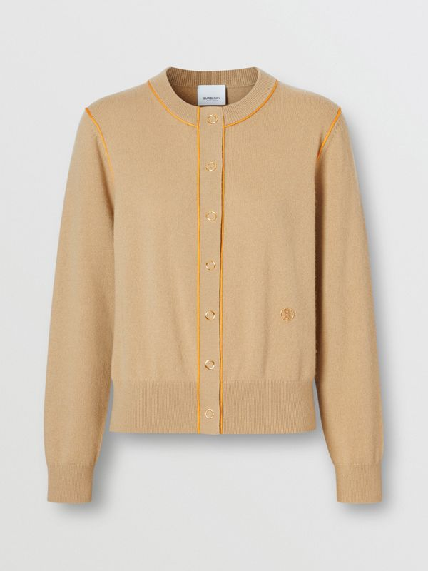 Silk Trim Monogram Motif Cashmere Cardigan in Archive Beige - Women | Burberry - cell image 3