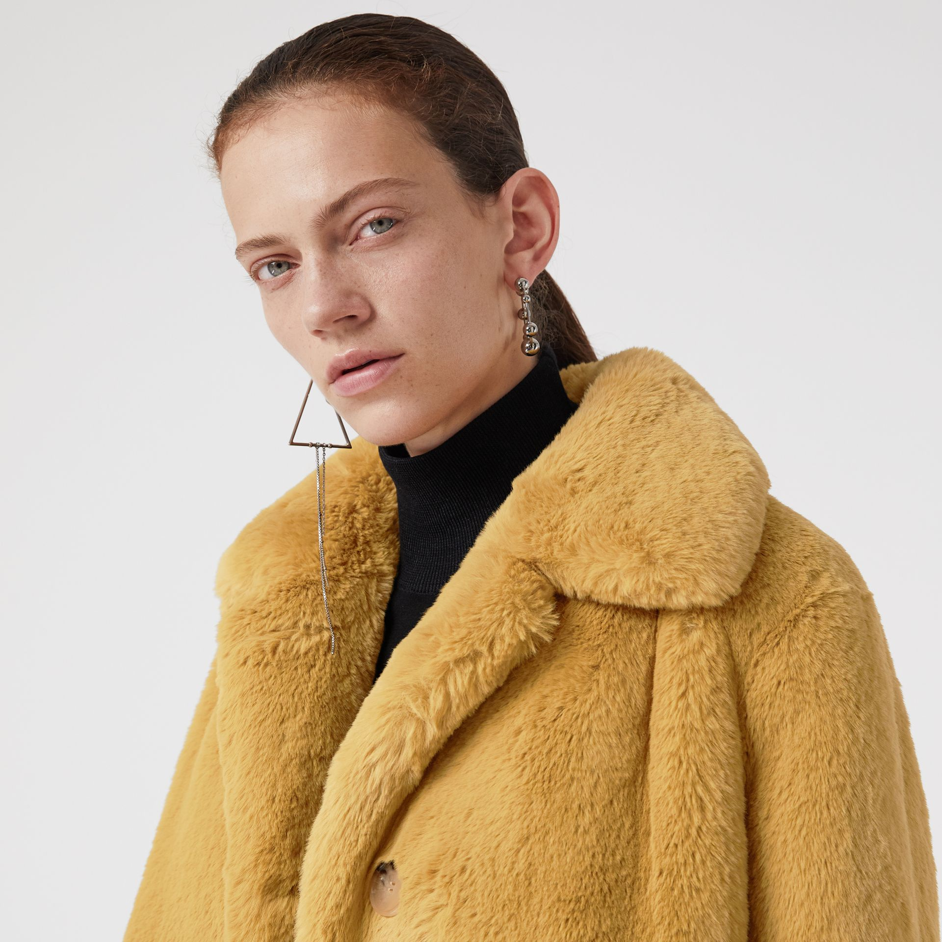 Faux Fur Single-Breasted Jacket in Ochre Yellow - Women | Burberry Australia - gallery image 4