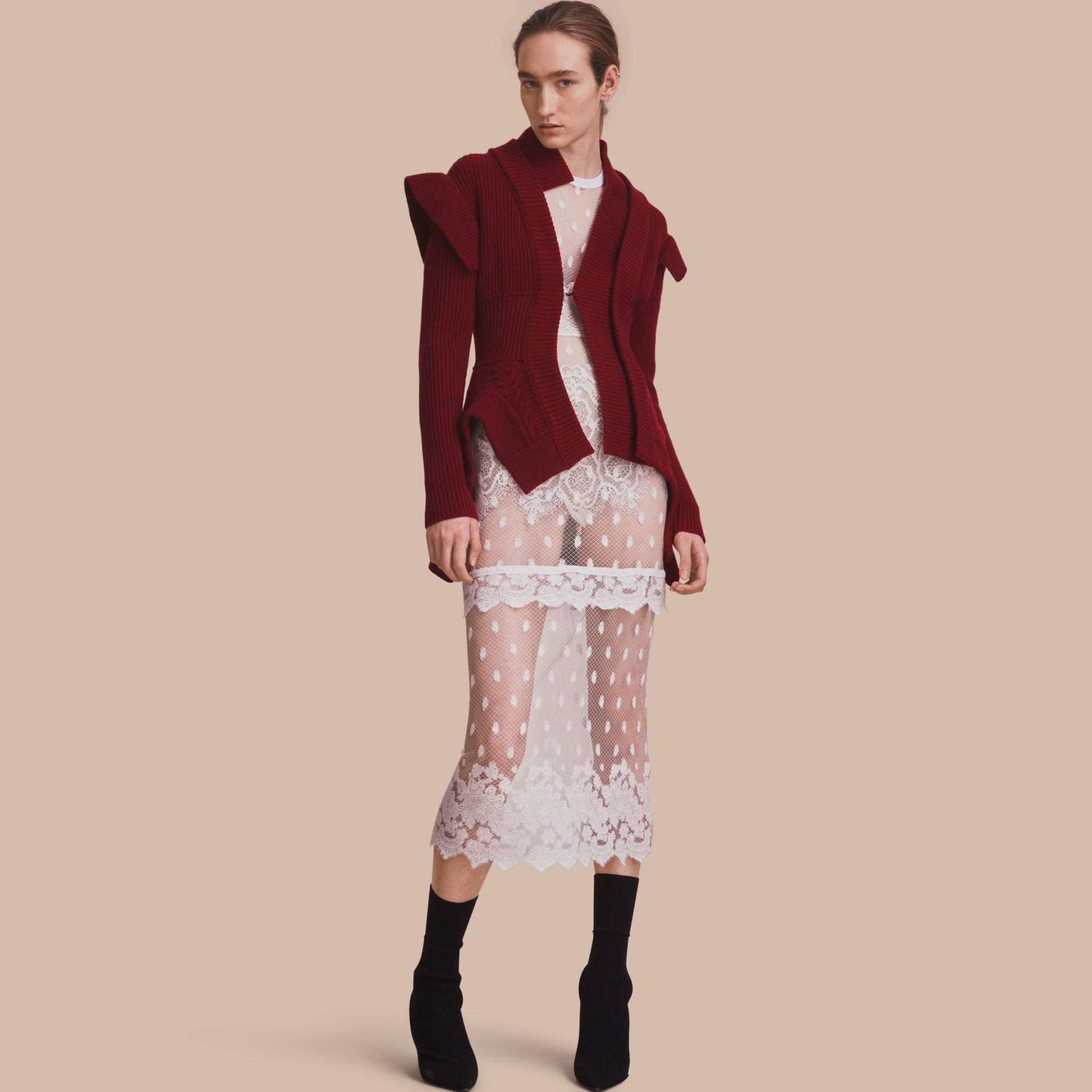 Knitted Wool Cashmere Military-inspired Jacket in Bordeaux - Women | Burberry Singapore - gallery image 1