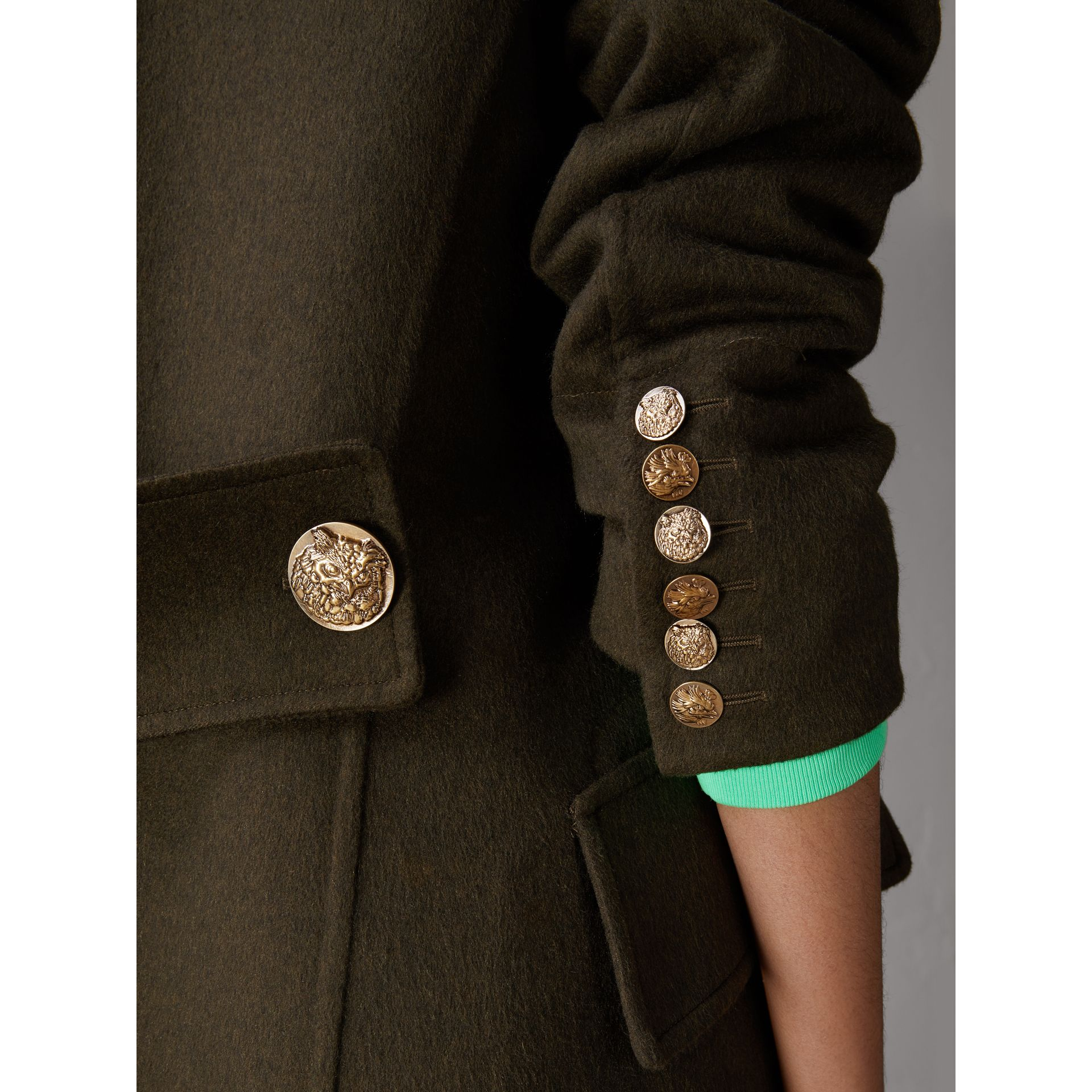 Bird Button Cashmere Wool Military Coat in Dark  Green - Women | Burberry - gallery image 4