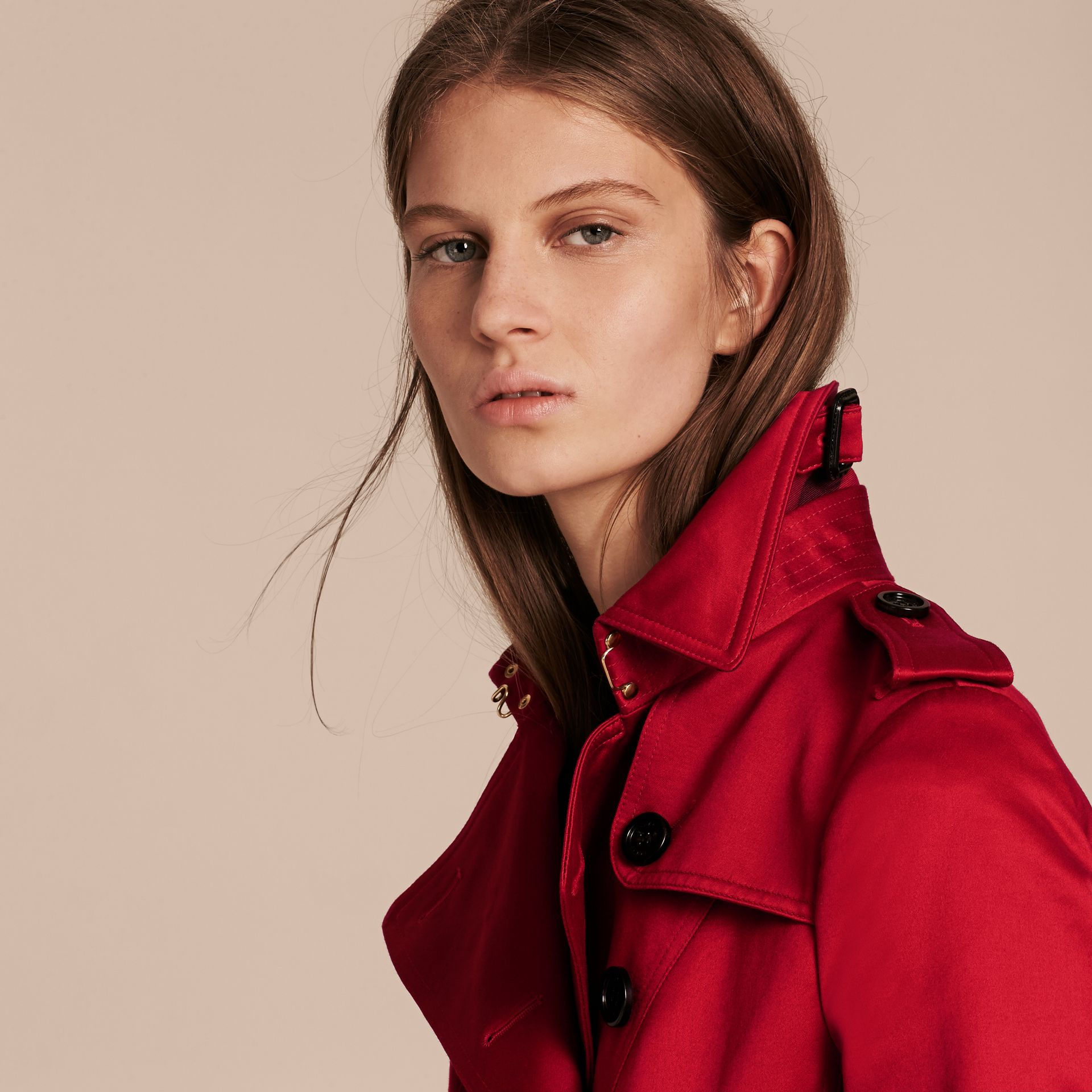 Parade red Cotton Sateen Trench Coat - gallery image 5